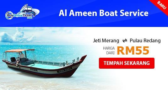 Bot dari Jeti Merang ke Pulau Redang dengan Al Ameen Boat Service