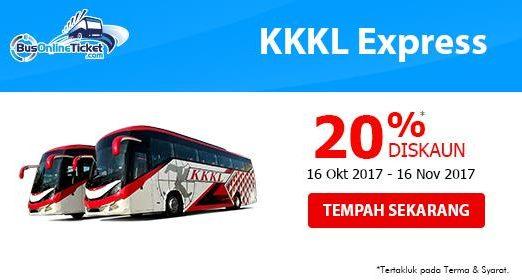 20% DISKAUN untuk Tiket Bas KKKL Express