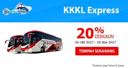 20% DISKAUN untuk Tiket Bas KKKL Express Online dari 16/10/2017 hingga 16/11/2017