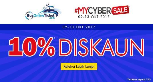 MYCYBERSALE 2017 – Tawaran Diskaun 10% Untuk Mana-mana Belian Tiket Bas Online