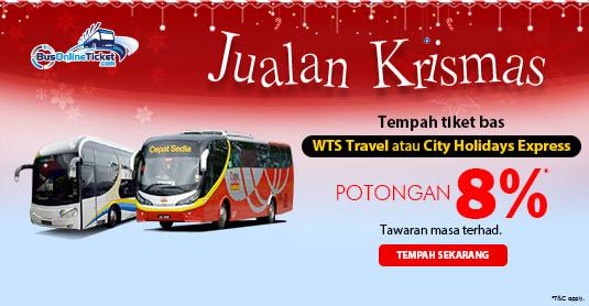 POTONGAN 8% untuk tempahan tiket bas WTS Travel & Tours dan City Holidays Express