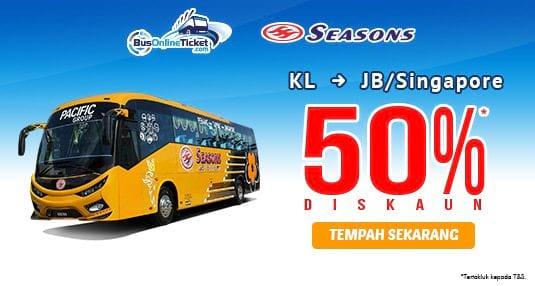 50% DISKAUN untuk tiket bas Season Express