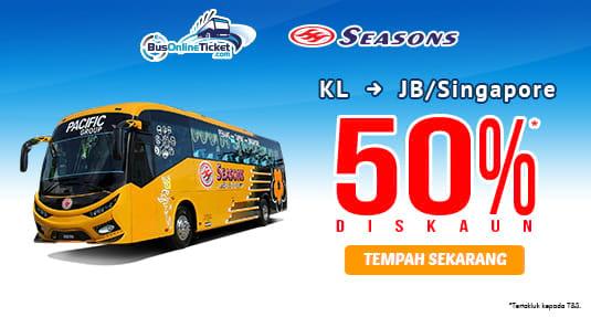 Diskaun untuk tiket bas Seasons Express