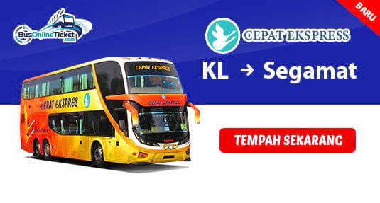 Cepat Express Menawarkan Bas dari KL ke Segamat