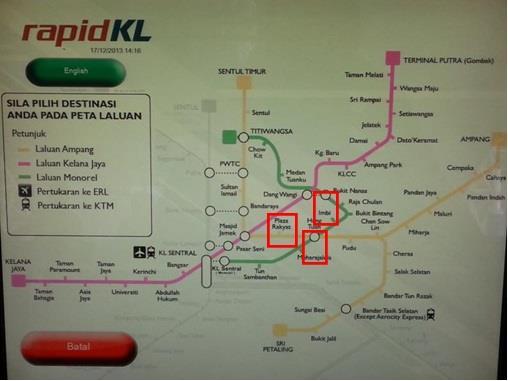 Peta Stesen LRT Bandar Tasik Selatan