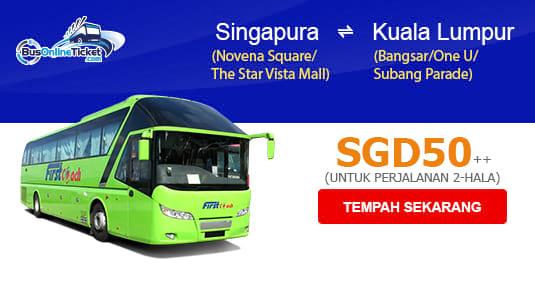 Tiket bas First Coach pergi balik dari Singapura ke KL hanya daripada SGD50!