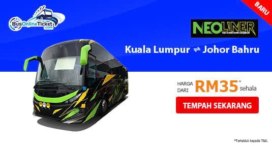 Bas Neoliner Express antara Kuala Lumpur dan Johor Bahru