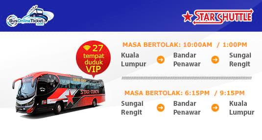 Star Coach Express menawarkan perkhidmatan bas antara KL, Bandar Penawar dan Sungai Rengit