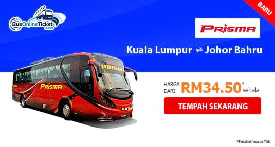 Prisma Express menawarkan perkhidmatan bas antara KL dan JB