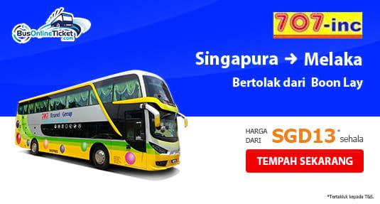 Bas dari Pusat Beli-belah Boon Lay Singapura ke Melaka dengan 707-Inc