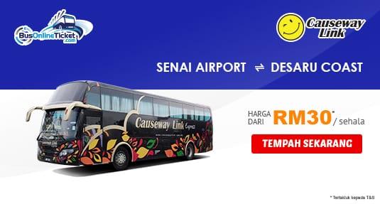 Causeway Link Express Menawarkan Perkhidmatan Bas Terus Antara Senai Airport dan Desaru Coast