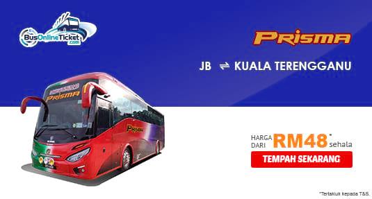 Prisma Express menawarkan perkhidmatan bas baru antara JB dan Kuala Terengganu