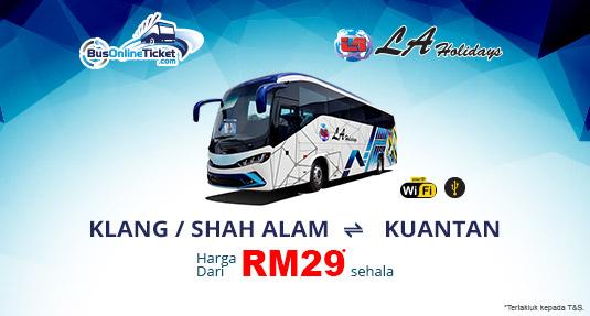 LA Holidays Express Menawarkan Bas Antara Klang atau Shah Alam dan Kuantan