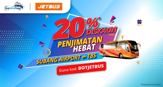 JetBus Menawarkan Diskaun 20% Untuk Perkhidmatan Bas antara Subang Airport dan TBS