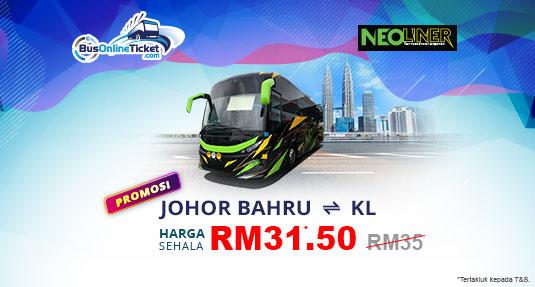 Neoliner Express PROMO RM31.50 antara Kuala Lumpur dan Johor Bahru